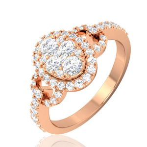 KADRI | 14 Kt Rose Gold Ring | Cluster Diamond Ring