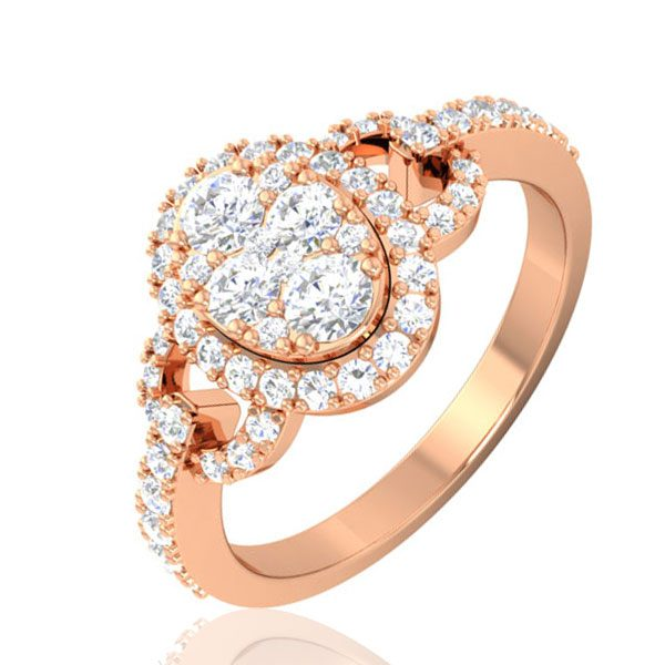 KADRI | 14 Kt Rose Gold Ring | Cluster Diamond Ring