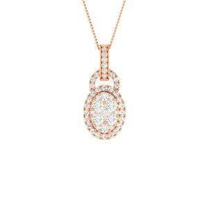 Rose Gold Diamond Pendant | KADRI | Cluster Diamonds