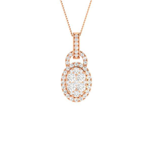 Rose Gold Diamond Pendant | KADRI | Cluster Diamonds