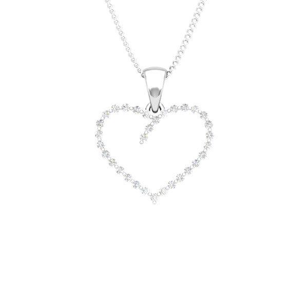 Gold pendant | Pietas 14kt White Gold | Heart Diamonds Pendant|