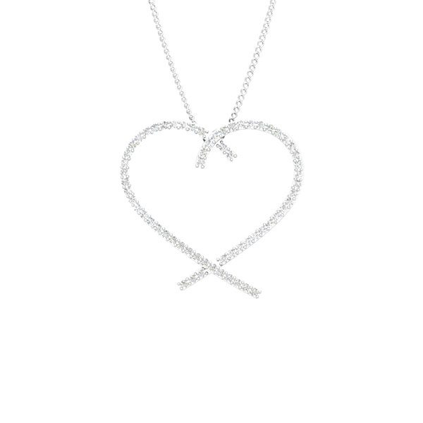 Luxury Pendant | 14 Kt White Gold | White diamonds Heart Pendant
