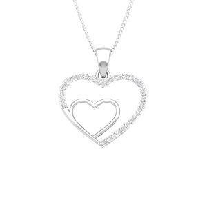 BONDING HEART | 14Kt White Gold diamond | Bond Heart Pendant