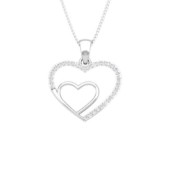 BONDING HEART | 14Kt White Gold diamond | Bond Heart Pendant