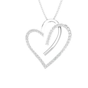 FLUTTERING HEART | 14 Kt White Gold | White Diamond Pendant