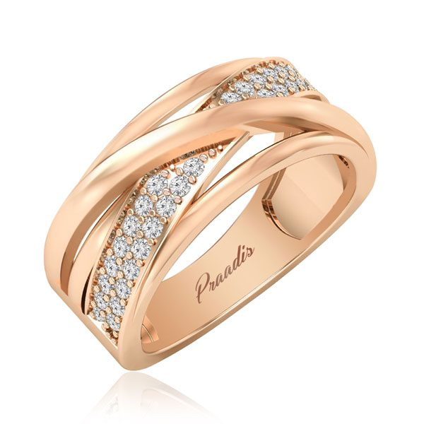 Diamond Rings | ZENE | 14 Kt Rose Gold | White diamonds Ring