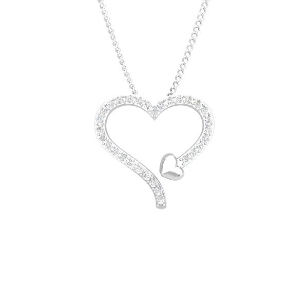 LYVIA Heart Pendant | 14 Kt White Gold | White diamonds