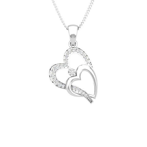 HEARTS TOGETHER | White Diamond | 14 Kt | Gold Heart Pendant