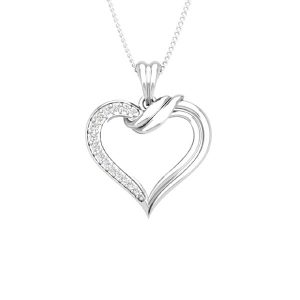Heart Diamond Pendant | DAVIDE | 14 Kt White Gold | White diamonds