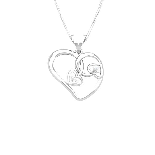 TWISTED HEART Pendant | 14kt White Gold | White Diamonds
