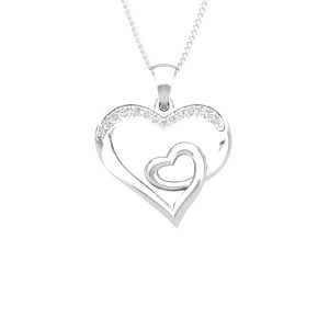 Heart Diamond Pendants | LUCKY LOVE | 14kt White Diamond | Praadis
