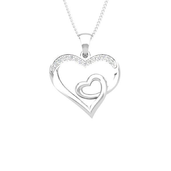 Heart Diamond Pendants | LUCKY LOVE | 14kt White Diamond | Praadis