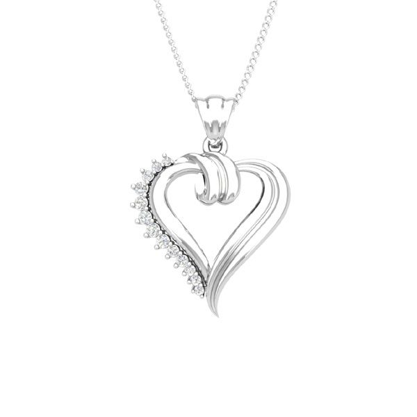 Affetto Collection | AMOR Heart Pendant | 14 Kt White Gold Diamonds
