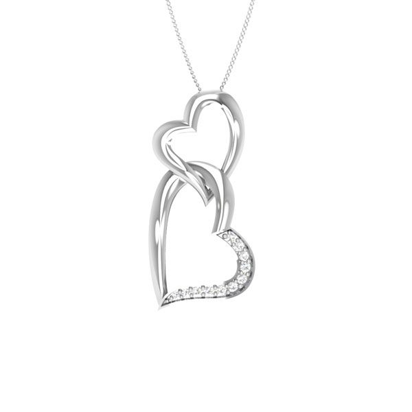 Diamonds Heart Pendant | AIYANA | 14 Kt White Gold | White diamonds