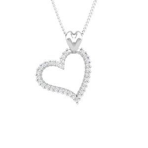Love Diamond Pendant | Forever Love| 14 Kt White Gold | White diamonds