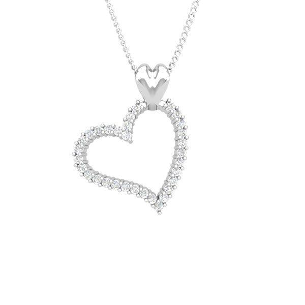 Love Diamond Pendant | Forever Love| 14 Kt White Gold | White diamonds