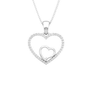 AMADO | 14 Kt White Gold | White diamonds Heart Pendant