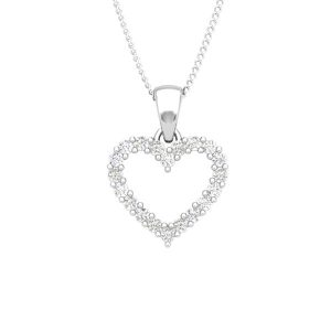 Diamonds Heart Pendant | TE AMO | 14 Kt White Gold