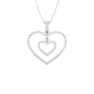 COUPLE HEART | 14 Kt White Gold | Diamond Heart Pendant