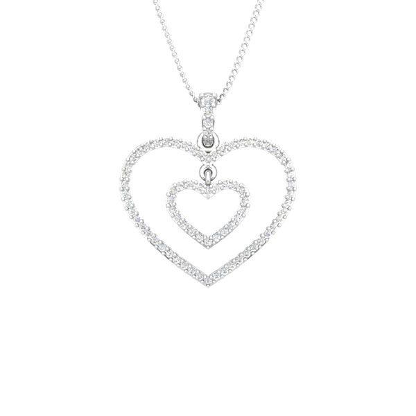 COUPLE HEART | 14 Kt White Gold | Diamond Heart Pendant