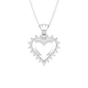 ROMANTIS | 14kt White Gold | White Diamond Heart Pendant