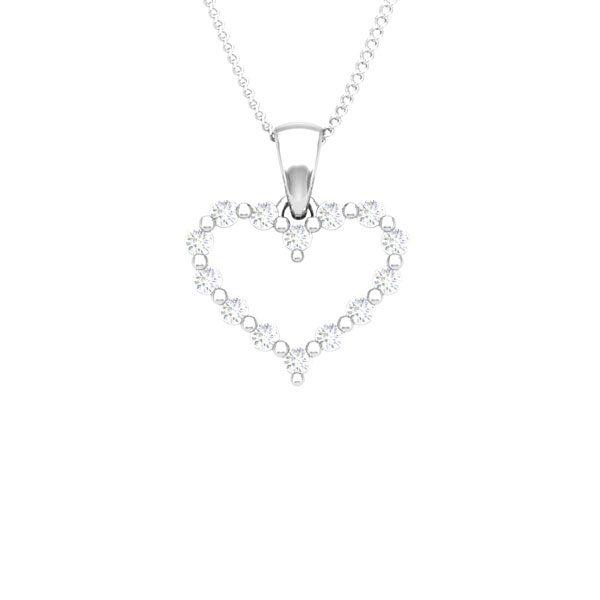 DAVINIA   Heart White Diamond Pendant   14 Kt White Gold