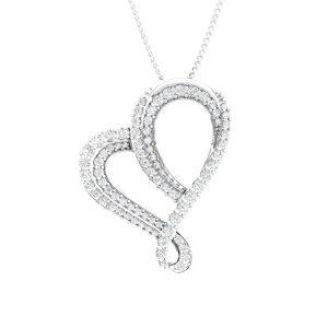 White Gold Heart Pendant   ROMANTISCH   White Diamonds