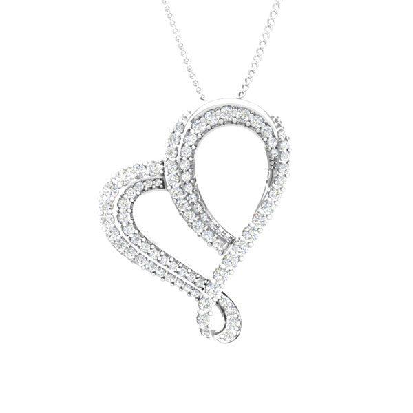 White Gold Heart Pendant | ROMANTISCH | White Diamonds