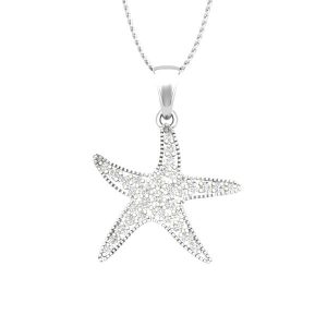 SWEET SEASTAR | 14 Kt White Gold Diamond | Sea Shore Pendant