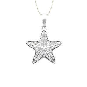 Diamond Starfish Pendant | CUTE SEASTAR | White Gold
