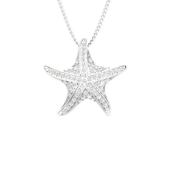 Starfish pendant shiny starfish white diamond pendant shiny starfish 14 kt white gold white diamond pendant mozeypictures Choice Image