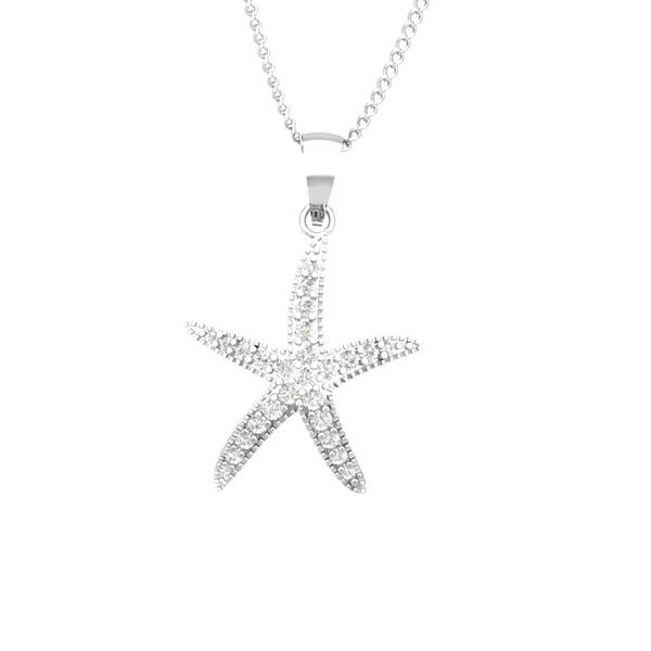 SEA STAR | 14kt Gold Diamond Pendant | Praadis Luxury Division
