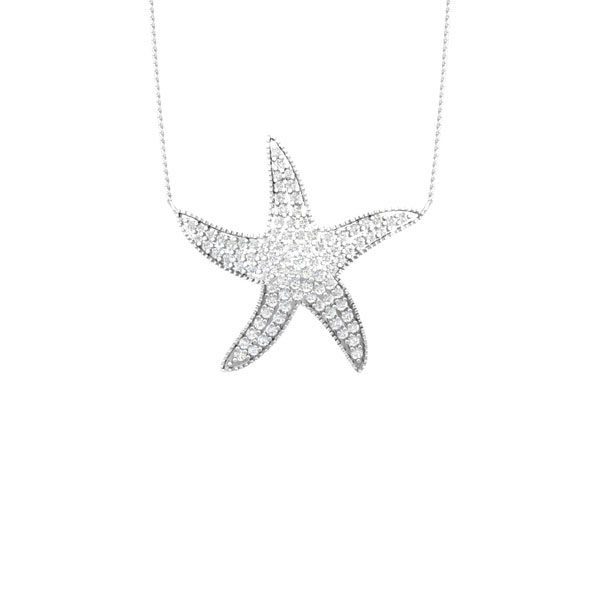DARLING STARFISH | White Diamonds Pendant | Sea Shore
