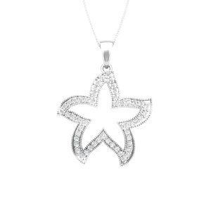 CUTE STARFISH | 14 Kt White Gold | White diamonds Starfish Pendant