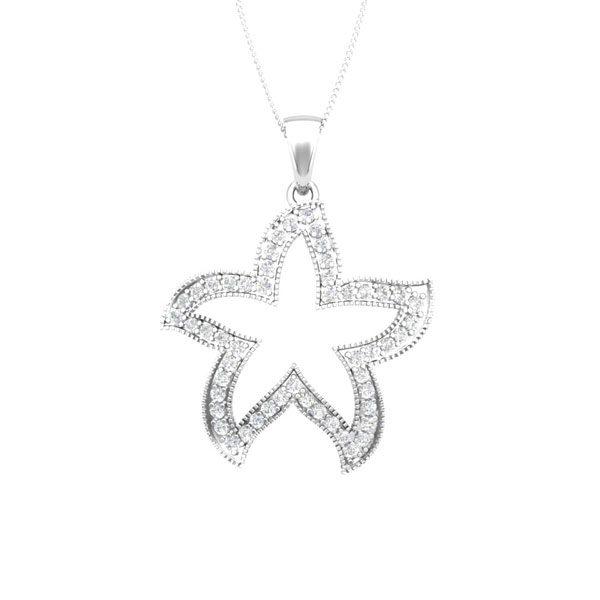 CUTE STARFISH | 14 Kt White Gold | White diamonds Starfish Pendant