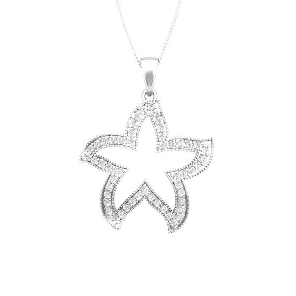 Cute starfish 14 kt white gold white diamonds starfish pendant mozeypictures Choice Image