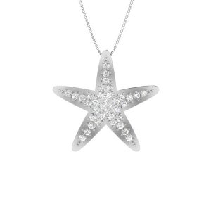 STAR STUNNER, sea shore | White Diamonds Pendant | 14 Kt White Gold