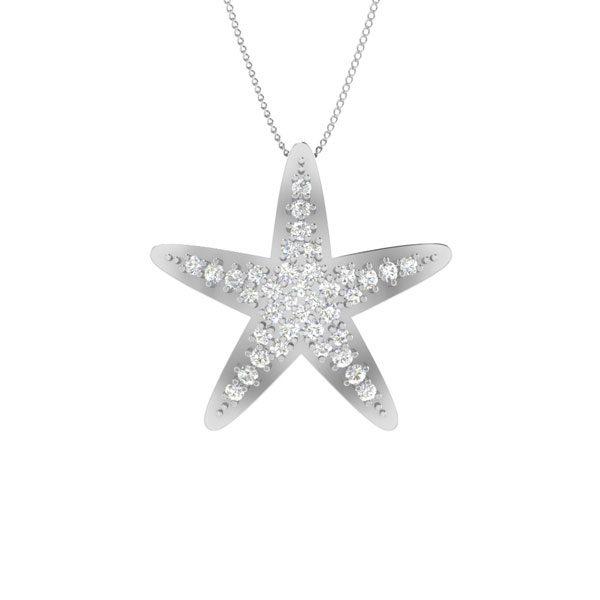 STAR STUNNER, sea shore | White Diamonds Pendant | 14 Kt White Gold
