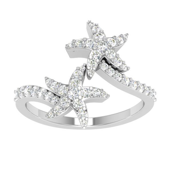 Starfish Diamond Rings | ROCK STARFISH | 14 Kt White Gold