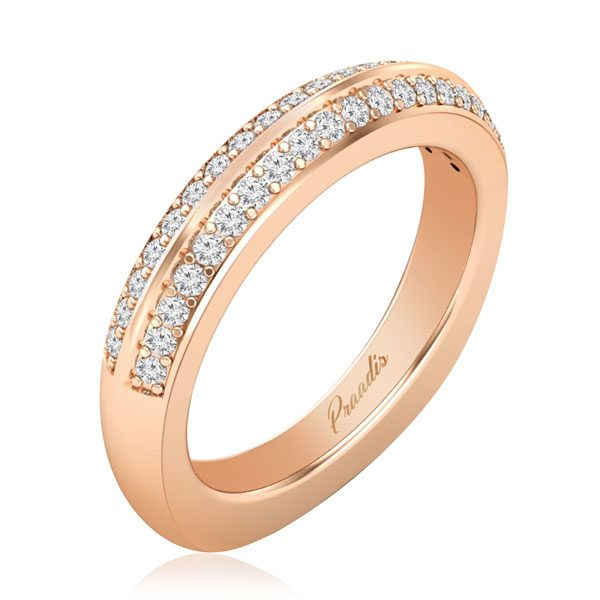 Diamond Bands & Rings | ROSLYN | 14 Kt Rose Gold