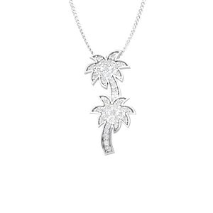 Palmtree Duo Diamond Pendant | 14kt White Gold | Praadis