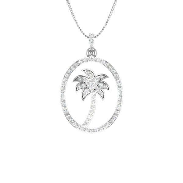PARADISE | 14 Kt White Gold | White diamonds | Palmtree Pendant