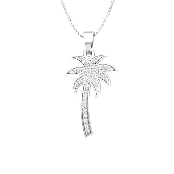 Diamond Palmtree Pendant | FRESH PALMTREE | 14Kt White Gold