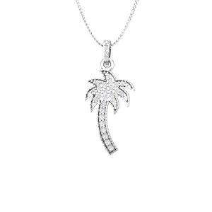 Palmtree Pendants | HAPPY PALMTREE | 14Kt White Gold