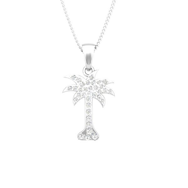 Diamonds Palmtree Pendant | 14Kt White Gold | White Diamonds
