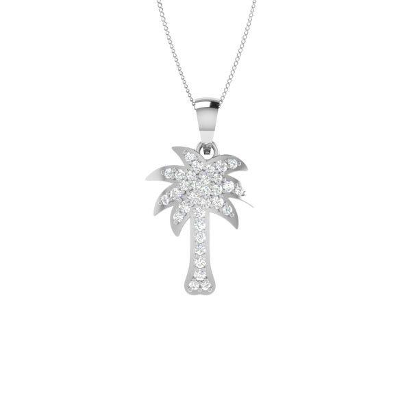 Palmtree Pendant | PLAYFUL PALMTREE | 14 Kt White Gold, Diamond