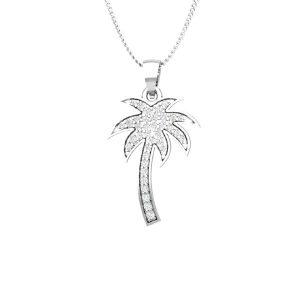Palmtree Pendant | PRETTY PALMTREE | 14Kt White Gold