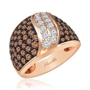 ADRIAN | 14 Kt Rose Gold | White Brown Diamond Ring