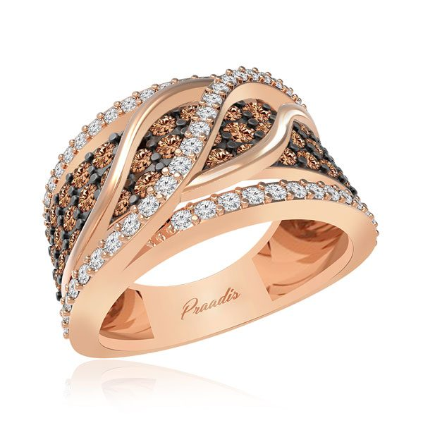 Chocolatte Ring | AGAPIOS | 14 Kt Rose Gold | White diamonds