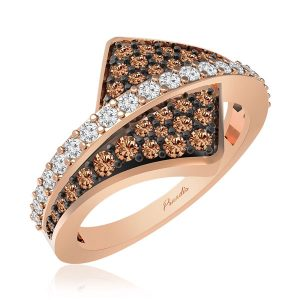 Casual Ring | AGAPE | 14 Kt Rose Gold | White diamonds| Casual Ring